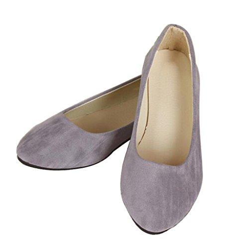 Lieber Zeit Frauen Flache Schuhe Bequeme Slip On Spitz Ballerinas Grau