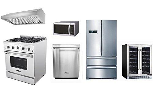 Thor Kitchen 30'' 4 Burner Dual Fuel Range +Range Hood+70''H Refriger+24'' Built-in Dishwasher+36 Bottle Wine cooler+Microwave
