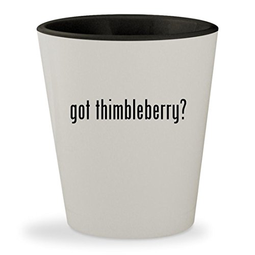 got thimbleberry? - White Outer & Black Inner Ceramic 1.5oz Shot Glass
