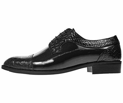 Bolano Mens Peau Danguille Exotique Et Peau De Lézard Orteil Bouchon Imprimé Oxford Styles Bandit Chaussures Habillées, Dallas, Rollins Noir / Croco-captoe