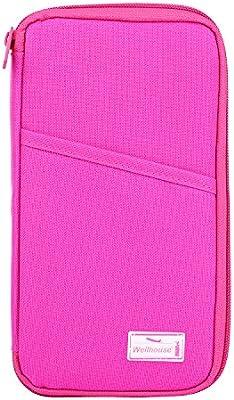 a2a4649971fd Wellhouse Travel Wallet Passport Holder Passport Wallet Document Organizer  Bag, Big Size (Rose Red)