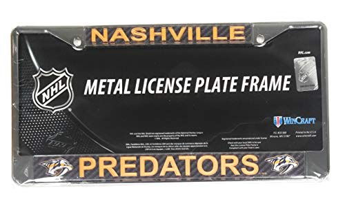 Nashville Predators Carbon Fiber Design Laser Frame Chrome Metal License Plate Tag Cover -
