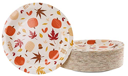 Disposable Plates - 80-Count Paper Plates, Thanksgiving Party Supplies for Appetizer, Lunch, Dinner, and Dessert, Kids Birthdays, Fall Foliage and Pumpkin Design, 9 x 9 inches