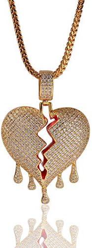 """N·XHXL Halskette Für Männer, Frauen, Voll Bling Blase Gebrochenes Herz Anhänger Halskette, Vergoldet AAA-Zirkon, 18"""" Kette, Geeignet Zum Aufbrechen Der Liebenswerten Jungen Und Mädchen"""