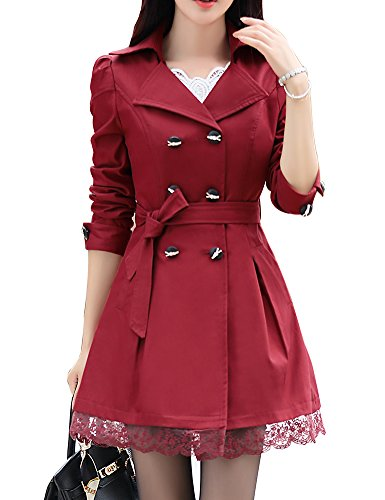 FV RELAY Womens Double-Breasted Bowknot Long Trench Coat