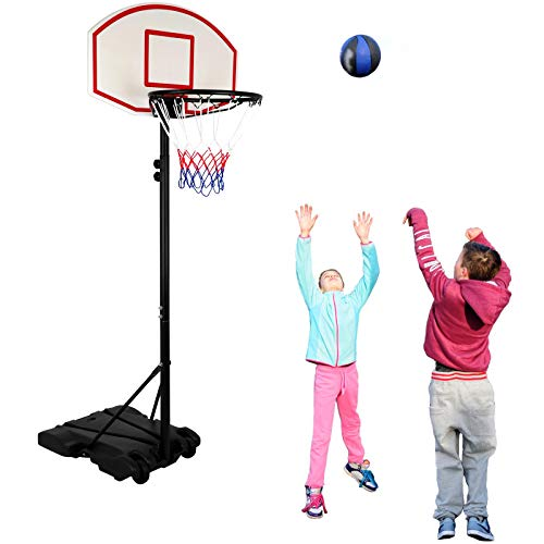 (Nova Microdermabrasion Portable Height Adjustable Basketball System, Basketball Hoop Stand 28 Inch Backboard W/Wheels for Kids Junior)