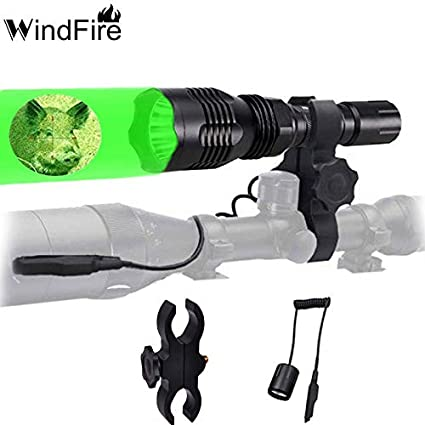 WindFire Green LED Coyote Hog Hunting Light Barrel Mount Remote Pressue Switch