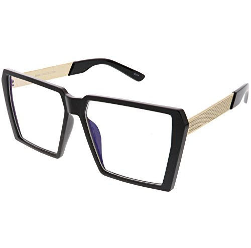 sunglassLA - Oversize Modern Chunky Square Eyeglasses Flat Clear Lens 60mm (Black Gold / - Glasses Black Chunky