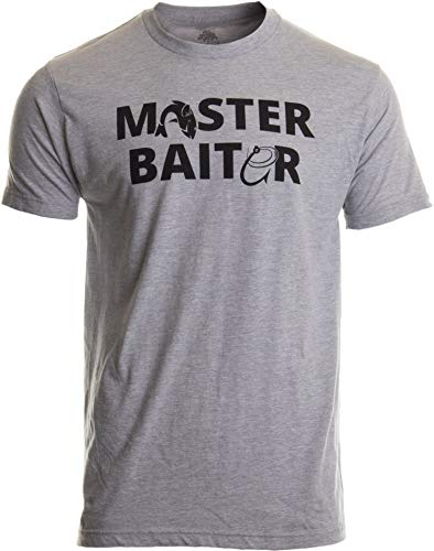 Masterbaiter | Funny Fishing Fisherman Fish Master Baiter Dad Grandpa Joke T-Shirt-(Adult,XL) Sport Grey