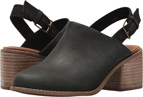 Slingback Leather Shoes (TOMS Women's Leila Slingback Black Leather 6.5 B US)