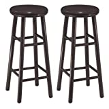 Swivel 30'' Bar Stool Set of 2 in Espresso Solid Wood Construction Bar Height Traditional Style