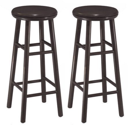 Swivel 30'' Bar Stool Set of 2 in Espresso Solid Wood Construction Bar Height Traditional Style by AVA Furniture