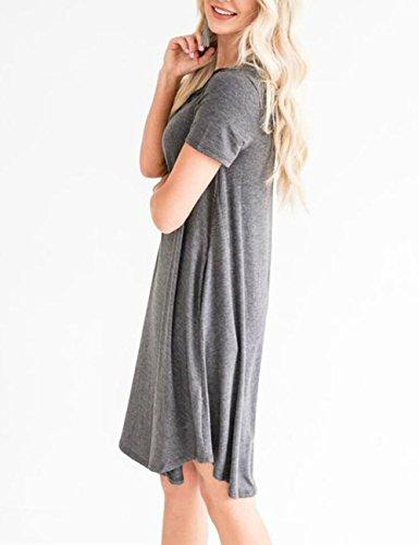 Dunea Femmes Manches Courtes Criss Croix Robe T-shirt Avec Des Poches Mini Robe Casual Swing Lâche Pour Les Femmes Gris