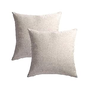Set of 2 Throw Pillow Covers Coastal Cushions Covers Fine Faux Linen Home Decorative Soft Pillow Case Covers With Zipper for Chair No Pillow Insert Outdoor Indoor Home Decor(18 x 18 inch, Light gray)