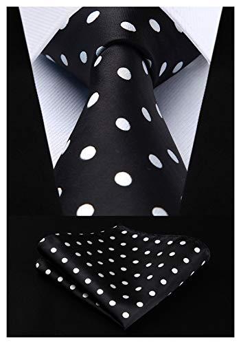 (Enmain Mens Tie Dot Necktie and Pocket Square Set for Wedding Party Black / White)