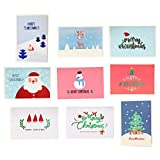 18 Pack Merry Christmas Greeting Cards, ALXCD Festival Xmas Greeting Cards Set with Envelop, 10x15cm, Pack of 18(White)