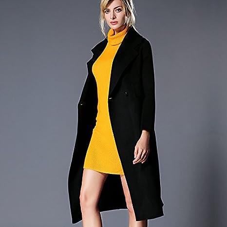 Womens HIDRRU Lana Cashmere abrigo abrigo de cachemir doble cara 2017 otoño e invierno nuevo largo