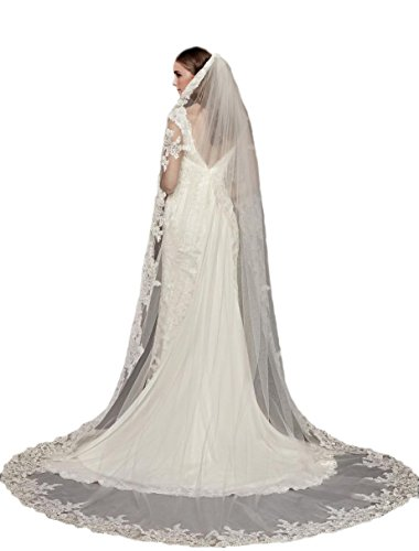 Passat Diamond White Single-Tier 3M Truly Zac Posen Metallic-Edged Cathedral Veil DB36 by Passat