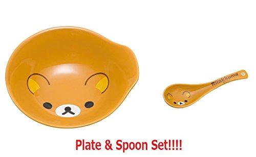 [2 pcs set!!] San-X Rilakkuma Tonsui Plate & Chinese Soup Spoon TK05401 & KY59401 - Melody Soup