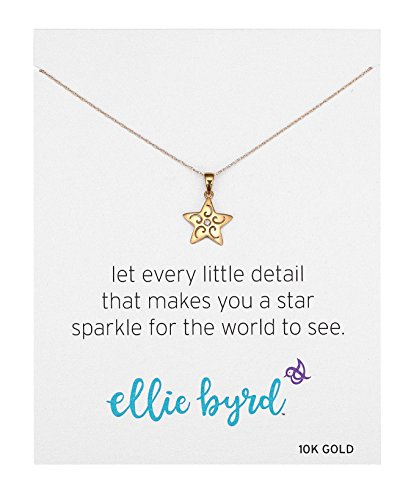 ellie byrd 10k Yellow Gold Diamond Star Pendant Necklace, 18