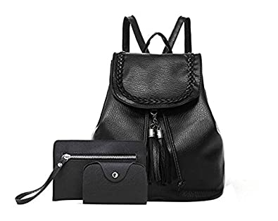Amazon.com: JJAI Tassel Faux Leather Backpack 3 Pcs Shoulder Bag Purse for Women Ladies Girls Mochilas de mujer (Black): Shoes