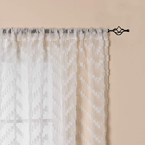 Pleated Pinch Panels Voile - White Semi Sheer Window Curtains Textured Rod Pocket Voile Curtain Set Zigzag Panel Pairs Pinch Pleated Voile Sheer Curtains, 84 inch