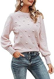 Miessial Women's Crew Neck Lantern Sleeve Sweater Pullover Elegant Knit Jumper
