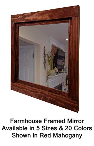 Vanity Mahogany Mirror (Farmhouse Large Framed Mirror Available in 5 Sizes and 20 Colors: Shown in Red Mahogany - Decor for Kitchen - Vanity Mirror - Rustic Home Decor - Wall Mirror - 22x24-24x30-36x30-42x30-60x30)