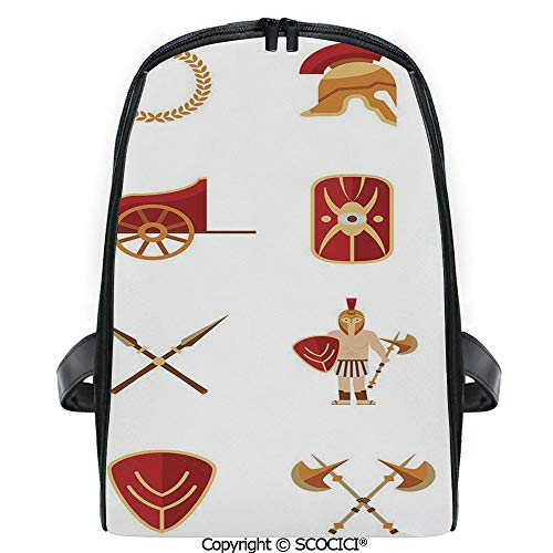 SCOCICI Casual Stylish Backpack Fighters Gladiators Greek Antiquity Warriors Icons Set in Graphic Style Decorative 2019 Deals! One Size