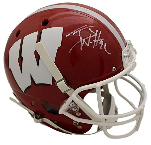 TJ Watt Autographed/Signed Wisconsin Badgers Schutt Red Replica Helmet JSA (Riddell Wisconsin Badgers Replica Helmet)