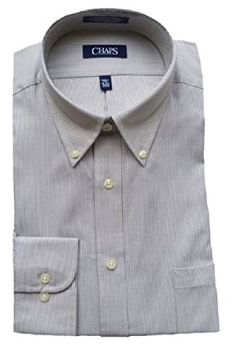 Linen Stripe Dress Shirt (Chaps Men's Performance Classic Fit Twill Pin-Stripe Dress Shirt, Linen (18-18.5 34/35))