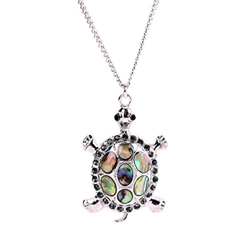 Abalone Turtle - Linana Vintage Tortoise Silver Turtle Long Necklace for Women Fashion Jewelry
