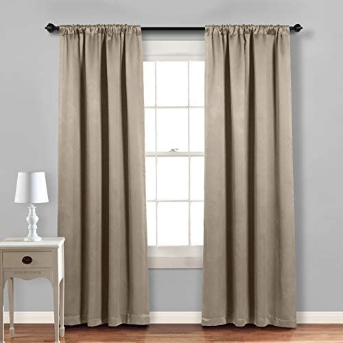 MYSKY HOME Blackout Curtains 72 Inch Length,Thermal Insulated Privacy Rod Pocket Curtain Drapes for Kitchen Dining Room Cafe 42 x72 ,Taupe, 2 Panels