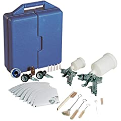 The Campbell Hausfeld gravity-feed spray gun kit (CHK005CCAV) is the ideal starter collection of tools for home spray painting. It includes two spray guns that are perfect for touch-ups or larger projects. The design reduces paint waste and d...