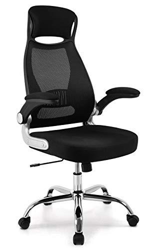 IntimaTe WM Heart Silla de Oficina giratoria con Respaldo Alto, ergonomica, inclinacion, reposabrazos Plegables, Color Negro N03C