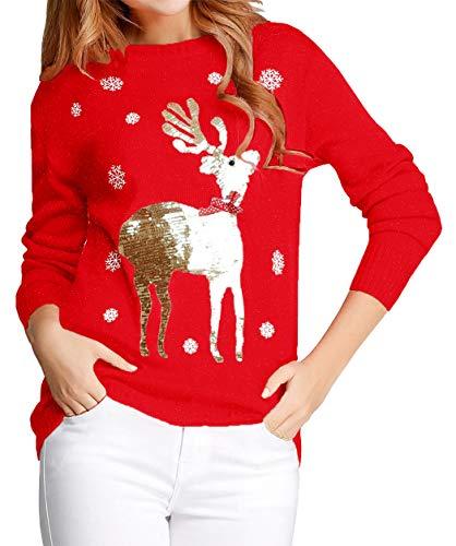 Margrine Womens Christmas Crewneck Sequin Shirts Casual Long Sleeve Christmas Tree Pullover Sweatshirt Tops