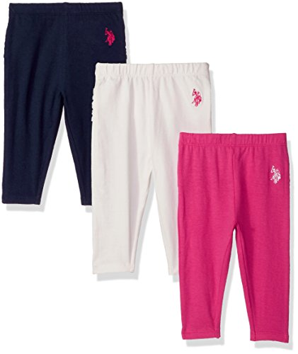 U.S. Polo Assn. Baby Girls' 3 Pack Jersey Spandex Legging Pant, Medium...