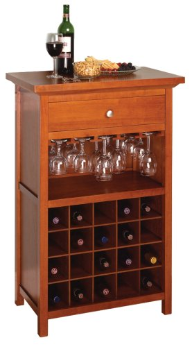 Winsome Wood Wine Cabinet with Drawer and Glass Holder, Walnut by Winsome Wood