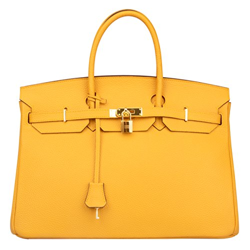 Ainifeel Women's Padlock Genuine leather 40CM Handbags (40cm(Silver hardware), Dark yellow) by Ainifeel