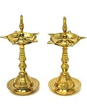 Hashcart Kerela Traditional Brass Oil Lamp - Brass Puja Oil Diya Lamp Engraved Design Deepak Pooja Article