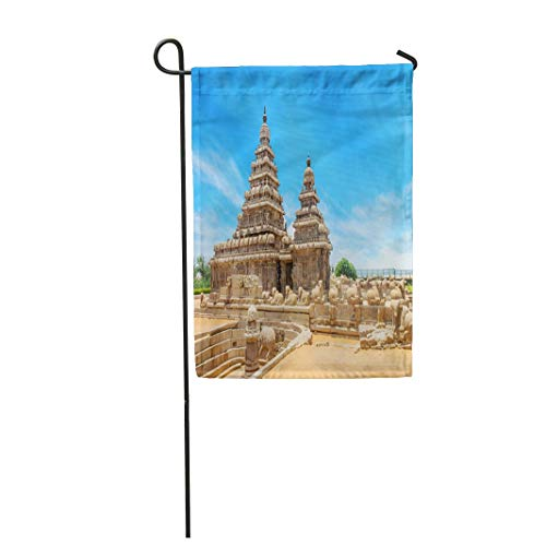 - Tarolo Decoration Flag Shore Temple Popular Tourist Destination and UNESCO World Heritage at Mahabalipuram Tamil Nadu India Thick Fabric Double Sided Home Garden Flag 12
