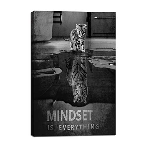 "Mindset is Everything Motivational Canvas Wall Art Inspirational Entrepreneur Quotes Poster HD Print Artwork Painting Picture for Living Room Bedroom Office Home Decor Framed Ready to Hang (12""Wx18""H) - Art Print Artwork"