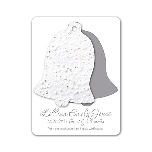 Bloomin Plantable Bell Birth Announcement Favor with Seed Paper - White {25 Card Set}