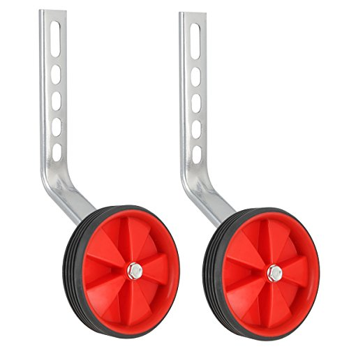 Herbalcandybox 1 Pair 4.33 Inch Kids Bicycle Training Replacement Wheels with Mounting Bracket for 12-20 Inch Kids Bike, Red01 by