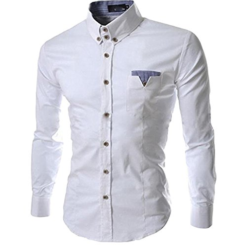 Labaqiangj Men's Solid Lapel Formal Button Stylish Slim Fit Shirts WhiteUS Large=China X-Large (Morph Suit Price)
