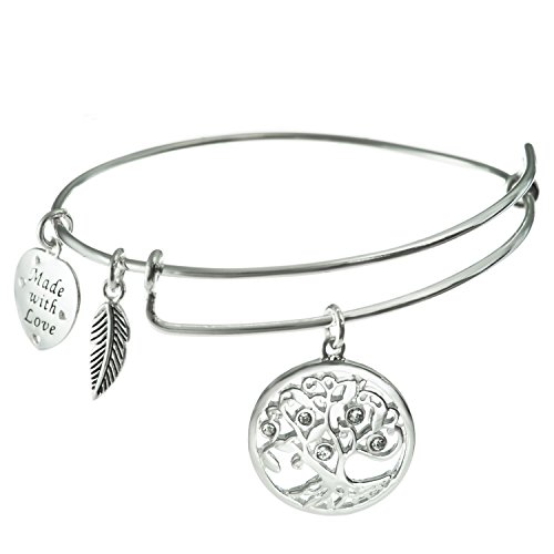 Sterling Silver Clear Rhinestone Family Tree Heart Leaf Charm Adjustable Wire Bangle Bracelet