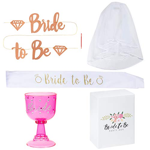 Juvale Bachelorette Party Supplies Kit - 4-Piece Bridal Wedding Shower Accessories Set, Sash for Bride, Goblet, Veil with Comb, Bride to Be Banner Decoration