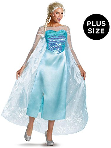 Disguise Women's Disney Frozen Elsa Deluxe Costume, Light Blue, X-Large/18-20