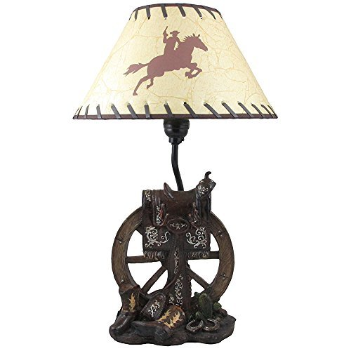 Horse Saddle on Wagon Wheel Desktop or Table Lamp in Gifts for Cowboys and Western Home Decor - Lamp Western Saddle