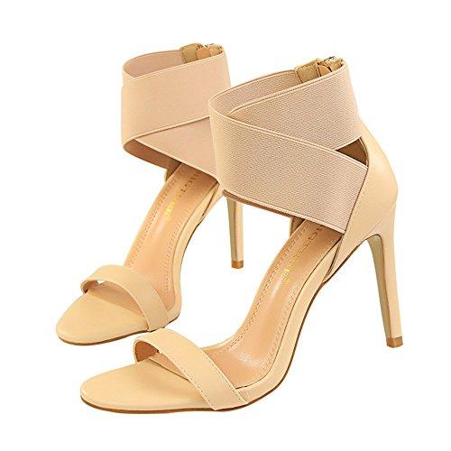z&dw Elegantes tacones altos elásticos sandalias de goma cruzada de la venda Color del albaricoque